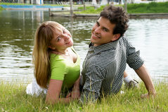 Happy couple against the nature Stock Image