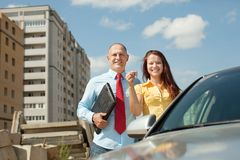 Happy couple against real estate Stock Photography