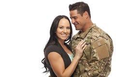Happy couple against white background Stock Photo
