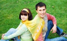 Happy couple in autumn. Royalty Free Stock Photo