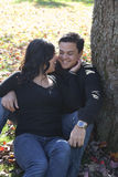 Happy couple in autumn park Stock Photo