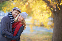 Happy couple in autumn Royalty Free Stock Image