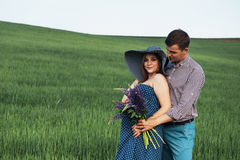 Happy couple awaiting baby. Beautiful and young parents Royalty Free Stock Photography