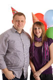 Happy Couple with balloons. Happy Couple with baloons isolated on the white background royalty free stock images