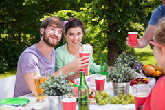 Happy couple on barbecue party Royalty Free Stock Photography