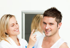Happy couple in a bathroom Royalty Free Stock Photos
