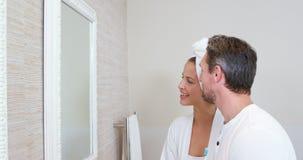 Happy couple in bathroom stock video footage