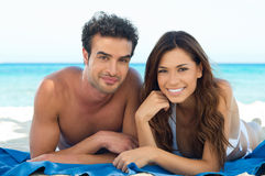 Happy Couple At Beach Stock Image