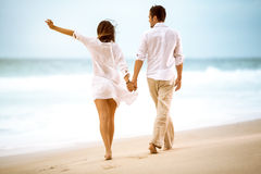 Happy couple on beach Royalty Free Stock Photography