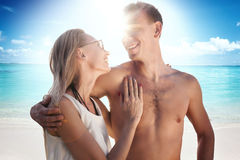 Happy couple on the beach. royalty free stock image