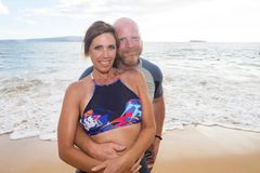 Happy couple at beach Royalty Free Stock Images