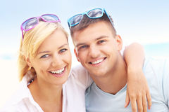Happy couple at the beach Royalty Free Stock Image