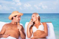 Happy couple on the beach resort Royalty Free Stock Photo
