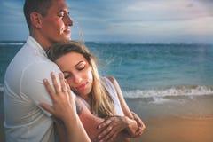 Happy couple at beach, sea view. Traveling at Thailand, Phuket Stock Photos