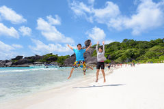 Happy couple on beach at Similan in Thailand Royalty Free Stock Photos