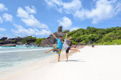 Happy couple on beach at Similan in Thailand Stock Photos