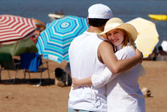 Happy couple on beach in vacation Royalty Free Stock Image