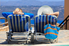 Happy couple on beach vacation Stock Image