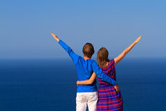 Happy couple on the beach vacation Royalty Free Stock Images