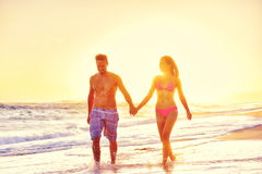 Happy couple on beach vacations Stock Photography