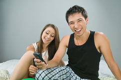 Happy couple in bed Stock Photos