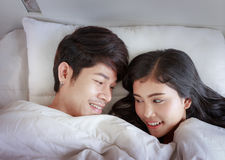 Happy Couple On Bed Royalty Free Stock Photo