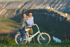 Happy Couple with Bicycle Royalty Free Stock Image