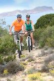 Happy couple of bikers visitng islands Stock Photo