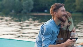 Happy couple in a boat Royalty Free Stock Image