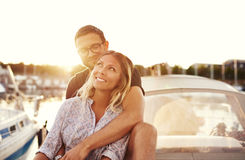 Happy Couple On a Boat Stock Photography