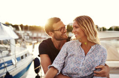 Happy Couple Bought Their First Boat Royalty Free Stock Images