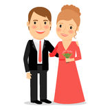 Happy couple with bouquet royalty free illustration