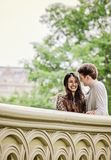 Happy couple on Bow Bridge in Central Park Royalty Free Stock Photo