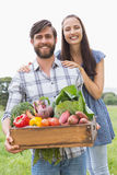 Happy couple with box of veg Royalty Free Stock Image
