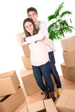 Happy couple with boxes Stock Photos