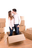 Happy couple with boxes Stock Images