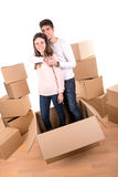 Happy couple with boxes Stock Photo