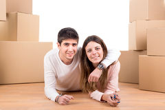 Happy couple with boxes Stock Photography