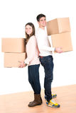 Happy couple with boxes Stock Image