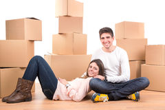 Happy couple with boxes Stock Photo