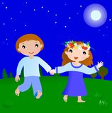 Happy couple boy and girl in the night Stock Image