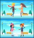 Happy Couple Boy and Girl Running Snow Fight Ball. Happy couple boy and girl running to each other outdoors, playing snow fight at wintertime at background of Royalty Free Stock Image