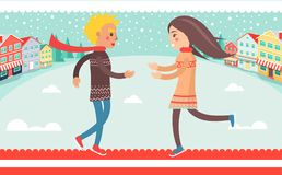 Happy Couple Boy and Girl Running to Each Other. Outdoors at wintertime at background of winter landscape, houses and road vector illustration Royalty Free Stock Image