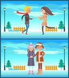 Happy Couple Boy and Girl Running, Drinking Tea. Happy couple boy and girl running to each other, lovers drink tea or coffee outdoors at background of winter Stock Image