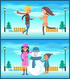 Happy Couple Boy and Girl Running, Mother Snowman. Happy couple boy and girl running to each other outdoors, mother and son makes photo near lantern at Stock Photos