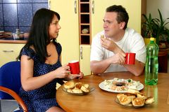 Happy Couple - Breakfast Royalty Free Stock Images