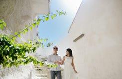 Happy couple bride and groom in honeymoon in Sperlonga, Italy. Europe Royalty Free Stock Photos