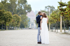 Happy couple bride and groom tenderly embraced in wedding day  in Napoli, Italy Royalty Free Stock Images