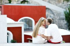 Happy couple bride and groom in wedding day, Positano, Italy Stock Photography