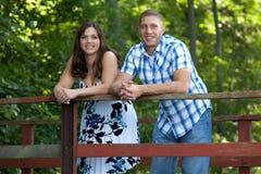 Happy couple on bridge Stock Photography